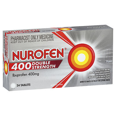 Nurofen 400 Double Strength 24 Tablets Headache Cold Flu Fever Temporary Relief