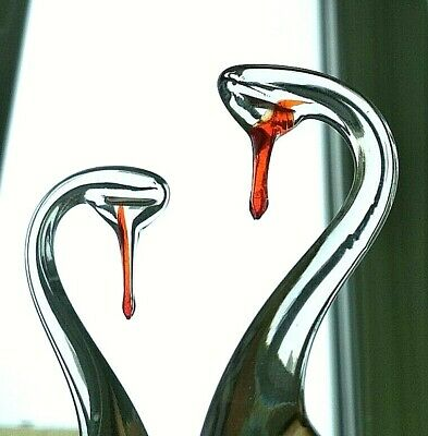 Vintage USSR Antiques Сouple Glass Crystal Swans Love Wedding Neck for Rings