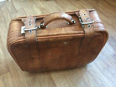 Vintage Suitcase Light Brown with Straps and Clip.