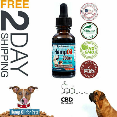 CBD Hemp Oil For Dog Cats  Natural Pain Relief Stress Anxiety Calming Mood -1oz