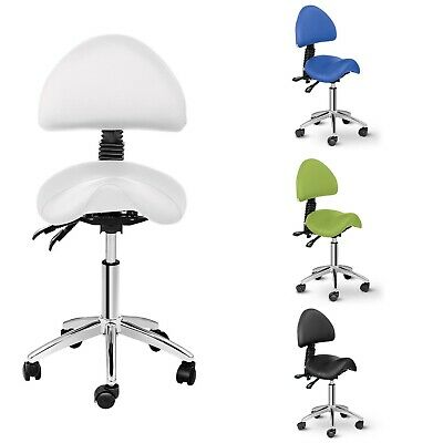 Saddle Chair With Back Support Adjustable Height Tilt Imitation Leather Swivel