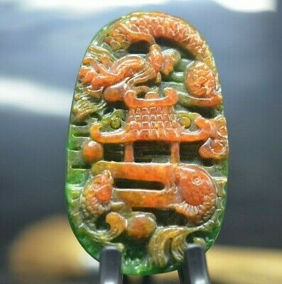 Exquisite Chinese jade carved *fish jump dragon door* pendant  c06