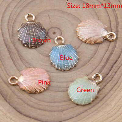 DY159# 6Pcs/set Enamel Alloy Shell Charm Pendant Ornament accessory 18x13mm