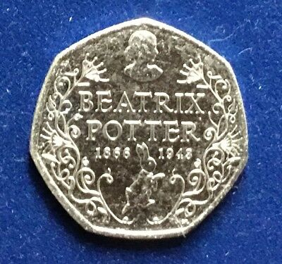 2016 Beatrix Potter, 150th anniversary 50p coin, uncirculated from sealed bag.
