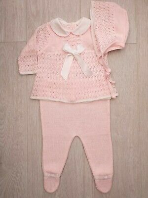 edc90dad8 SPANISH BABY GIRLS Knitted Top And Shorts Outfit Set Pink   Romany 3 ...