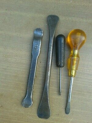 Vintage, Screwdrivers And Tyre Levers, Old Classic Vehicle Toolkit Items.