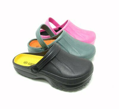 Ladies Full Kitchen Clogs Black Chefs Shoes Beach Footwear Garden Slip On New