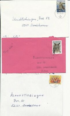 Aland 1996-97 - 7 covers inland and 2nd class rates - six different stamps