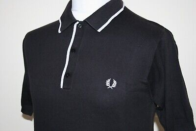 Fred Perry Black / White Bold Tipped Knitted Polo Shirt M Rare Casuals Mod Top