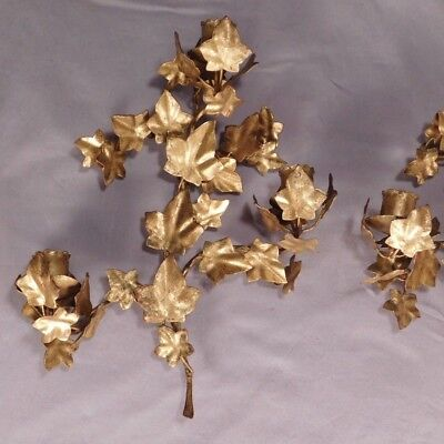 Pair Italian Marked Tole Floral Candle Sconces Vintage Metal Hollywood Regency