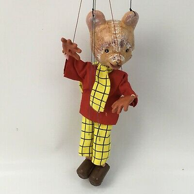 PELHAM PUPPETS Vintage Rupert The Bear String Puppet Marionette With Box 47536
