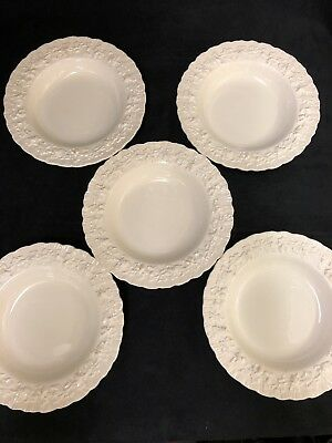 5 Wedgwood Queens Ware Dessert / Soup  BOWLS  Celadon Cream Shell Edge