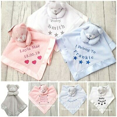 Personalised Baby Comforter Teddy Bear Baby Blanket - Embroidered Design