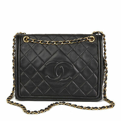 68a072fe1e442 CHANEL BLACK QUILTED Lambskin Vintage Timeless Single Flap Bag Hb2487 - EUR  2.319
