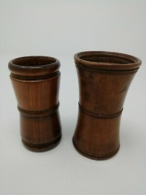 Two Antique Treen Dice Shakers