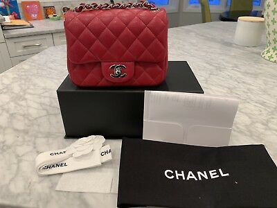 aa944d8d9bd4 100% AUTHENTIC CHANEL Dark Pink Lambskin Leather Maxi Double Flap ...