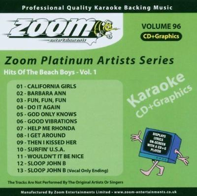 Zoom Karaoke Platinum Artists Series Volume 96 Hits Of The Beach Boys CD + G New