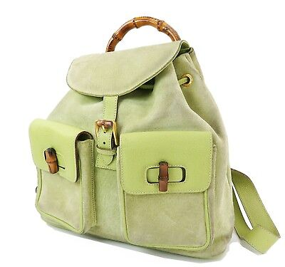 4a08e42b3c9c4d Authentic GUCCI Green Suede and Leather Bamboo Handle Backpack Bag #31634