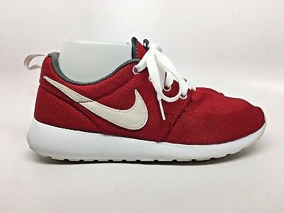 d30971d70f7c6 NIKE Roshe One (GS) Gym Red   White Swoosh Mesh Sneakers Womens 8 Shoes