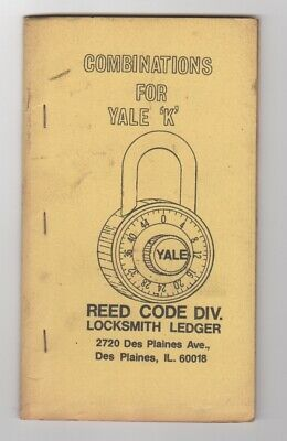 Locksmiths  Combinations For Yale K Combination Locks Reed Code Div.