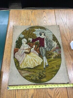 Antique Needlepoint Large Size 20/24 Maiden And Music .