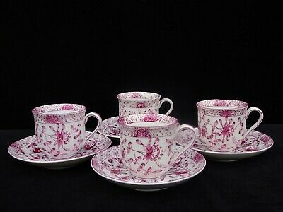 "4 Antique 19Th C. Meissen ""pink / Purple Indian"" Cups & Saucers  Crossed-Swords"
