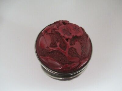 Red Cinnabar Lacquer Button With Unmarked Silver Back