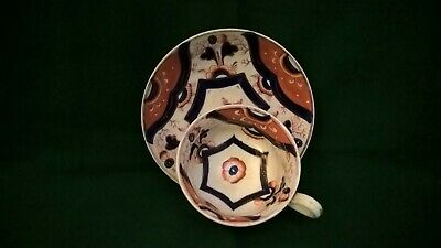 Welsh Gaudy Hexagon Pattern Cup and Saucer
