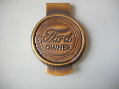 Ford Owner solid brass Money clip with Antique Patina round emblem #B-34