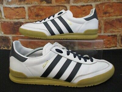 Adidas Originals Jeans Trainers Size 10 White Leather   Very Dark Blue  Stripes c0de517cd