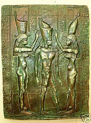 Ancient Egyptian reproduction Pharaoh crowned by Nekhbet and Wadjet