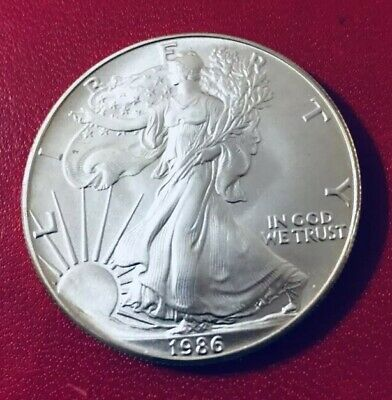 1986 SILVER EAGLE BU One Troy Ounce .999 Silver Dollar Scarce Date