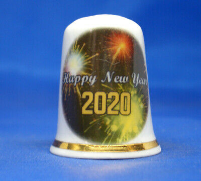 Fine Porcelain China Thimble - Happy New Year  2019 -- Free Gift Box