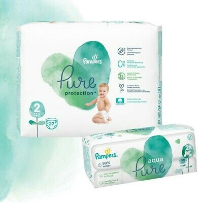 Pampers Pure Protection Probierpack: 27 St. Windeln Gr.2 + 96 St. Feuchttücher