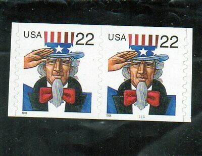 us scott# 3353 coil pair 22c uncle sam mnhog xf 1999
