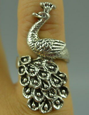A China Fine Collect Tibet Silver Carve Lifelike Peacock Delicate Noble Ring