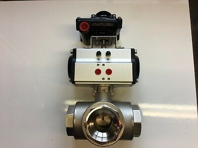 "Pneumatic Actuated Ball Valve 2"" BSP 3 Way T Port + Switch Box Indicator."