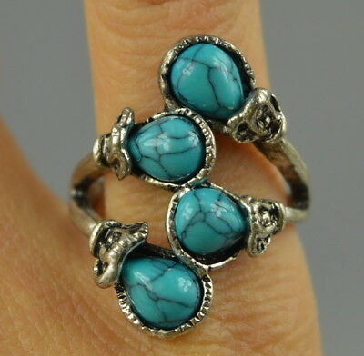 AAA Decor Collect Tibet Silver Carve Inlay Turquoise Rare Lucky Noble Ring
