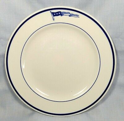 """Vintage US Navy 4-Star Pennant Dinner Lunch Plate 9"""" Mayer China"""