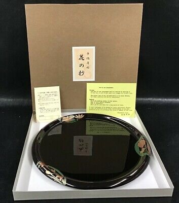 Japanese Lacquerware Enameled Plate Tray Black W Floral Pattern W Box