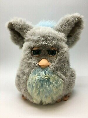 Large Furby Gray W/ Teal Green Eyes, Blue/Yellow Belly, Blue Mohawk, Working!