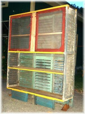 Pie Safe Cabinet Antique Shutters & Windows Bakers Rack Shabby Chic
