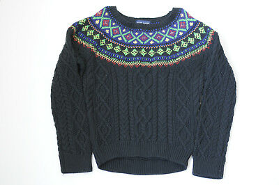 65440352ab4 Ralph Lauren Girls Fair Isle Cable Knit Sweater Black Cotton Pullover Size  6X