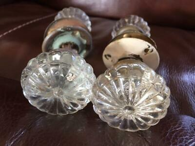 Matching Pair of Antique Glass Handle Door Knobs and Hardware