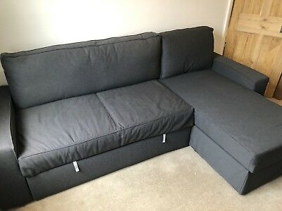 Practically New Ikea Vilasund Sofa Bed With Chaise Longue In