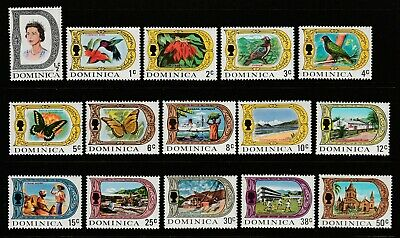 DOMINICA - 1969-72 SG 272a/86a GLAZED PAPER DEFINITIVE ISSUE - MNH SET