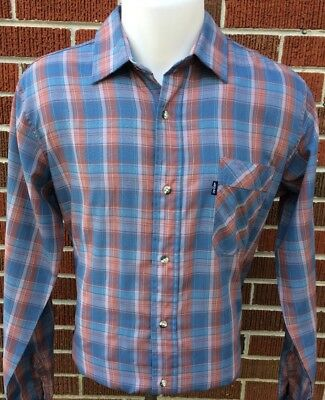 VINTAGE LEVI'S BUTTON-FRONT SHIRT Blue Brown Plaid Men's Size LARGE