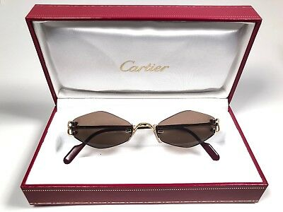 8be2df803c Vintage Cartier Soho Rimless Gold Brown Lenses Sunglasses Made In France