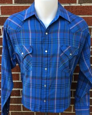 VINTAGE ELY CATTLEMAN WESTERN PEARL SNAP SHIRT Blue Plaid Men's Size LARGE