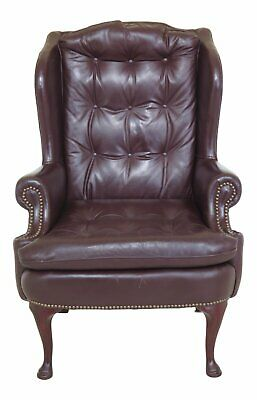 F46784EC: Burgundy Leather Tufted Back & Seat Wing Chair